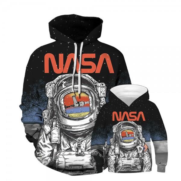 NASA Astronaut Hoodie Sweatshirt Black For Men Women Kids Family Matching Adult Children