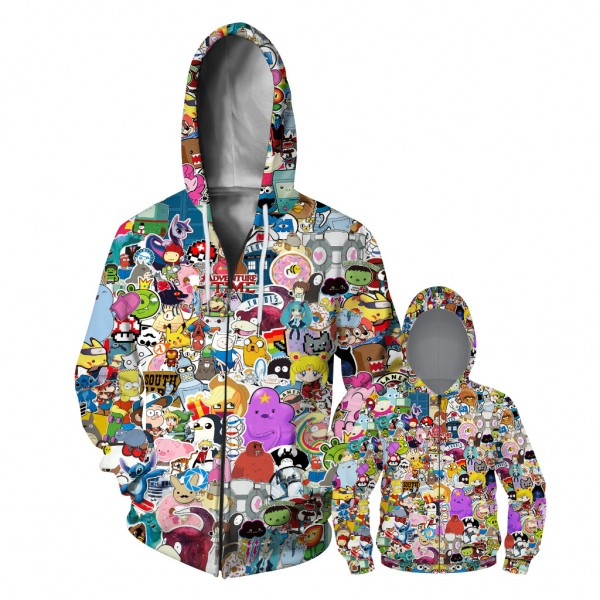 Anime Assamble Zip Up Hoodie Jacket For Men Women Kids Family Matching Adult Children