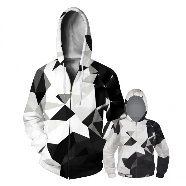Geometric Abstract Zip Up Hoodie Jacket For Men Women Kids Family Matching Adult Children