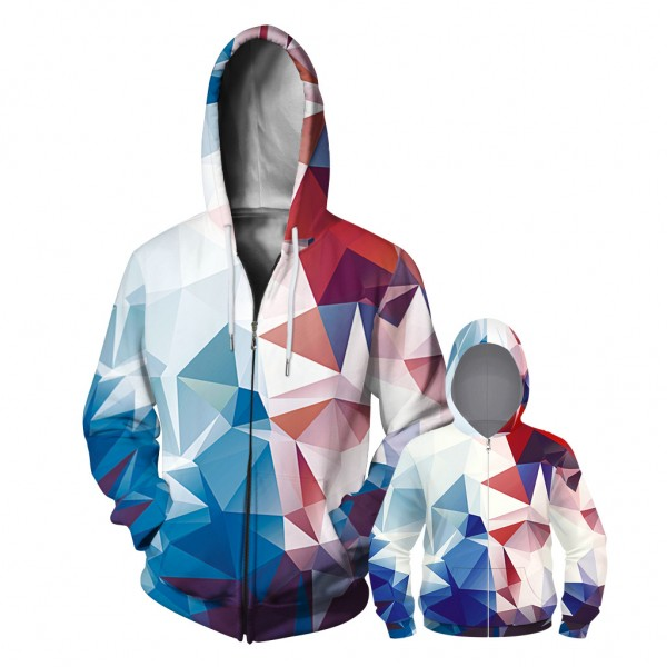 Colorful Geometric Abstract Zip Up Hoodie Jacket For Men Women Kids Family Matching Adult Children