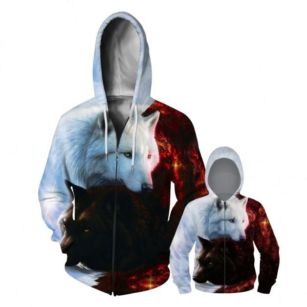 Wolf Zip Up Hoodie Jacket For Men Women Kids Family Matching Adult Children