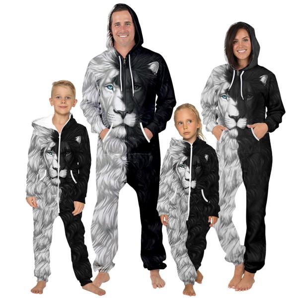 Lion Hooded Jumpsuit Onesie Black White 3D Zip Up Sweatshirt Jumpsuit For Men Women Kid Family Matching