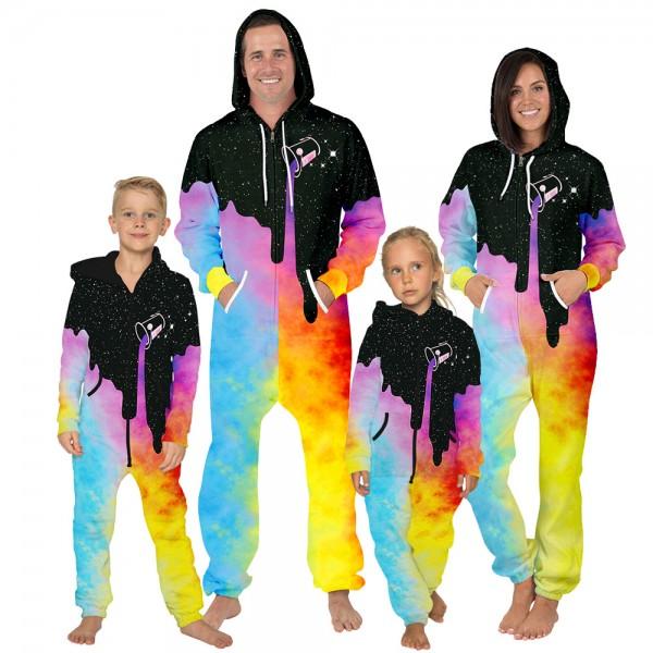 Space Colorful Paint Onesie Hooded Jumpsuit 3D Zip Up Sweatshirt Jumpsuit For Men Women Kid Family Matching