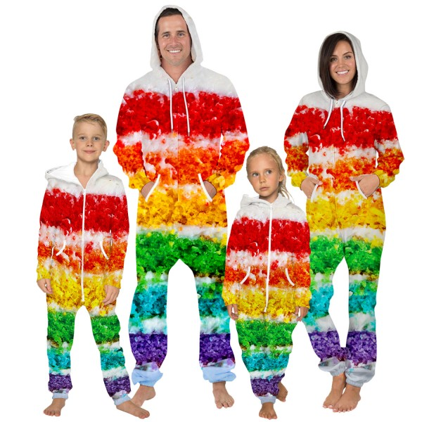 Colorful Hooded Jumpsuit Onesie 3D Zip Up Sweatshirt Jumpsuit For Men Women Kid Family Matching