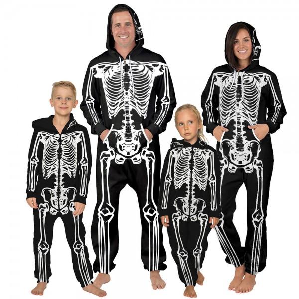 Skull Hooded Jumpsuit Onesie 3D Zip Up Sweatshirt Jumpsuit For Men Women Kid Family Matching