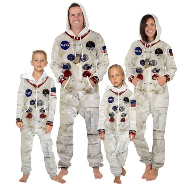 NASA Hooded Jumpsuit Onesie 3D Zip Up Sweatshirt Jumpsuit For Men Women Kid Family Matching