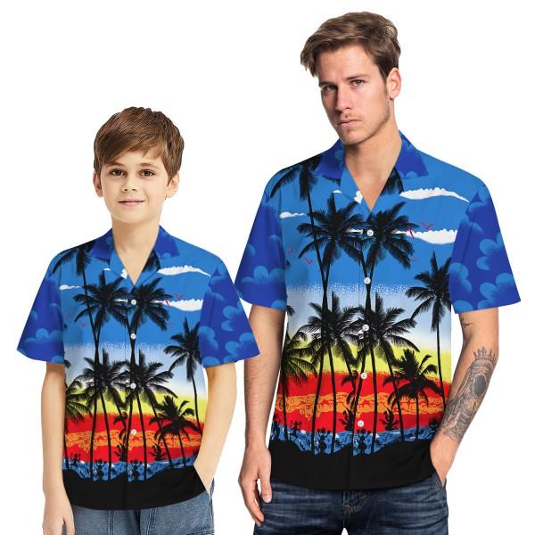 Tropical Hawaiian Aloha Shirt Beach Palm Blue Casual Button-Down Shirts For Men Boys