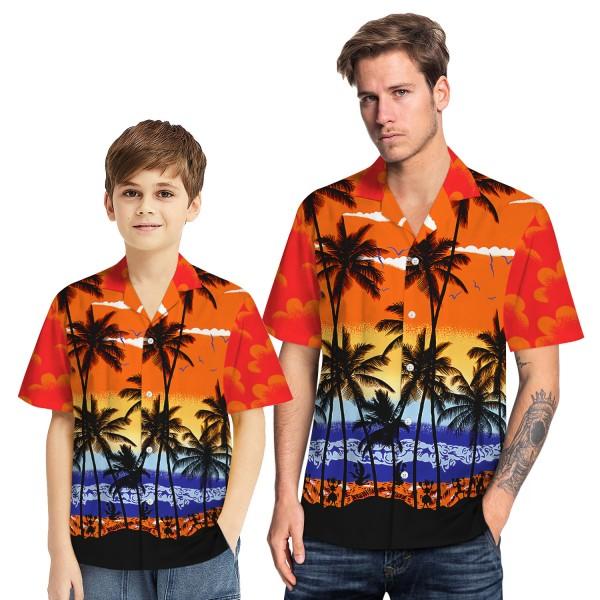 Tropical Hawaiian Aloha Shirt Beach Palm Orange Casual Button-Down Shirts For Men Boys