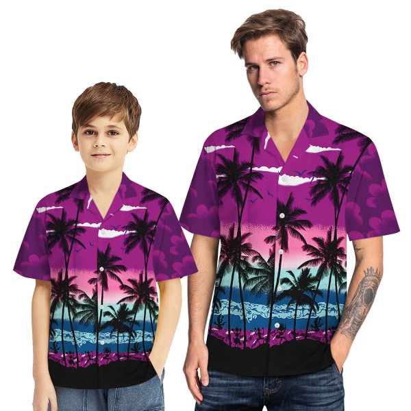 Tropical Hawaiian Aloha Shirt Beach Palm Purple Casual Button-Down Shirts For Men Boys