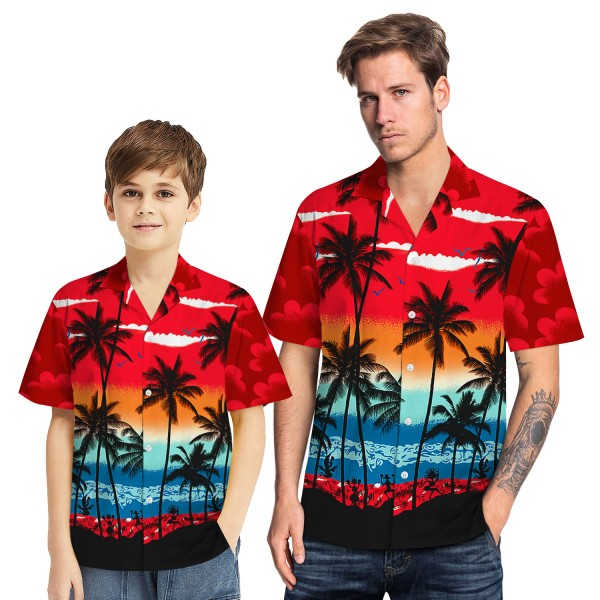 Tropical Hawaiian Aloha Shirt Beach Palm Red Casual Button-Down Shirts For Men Boys