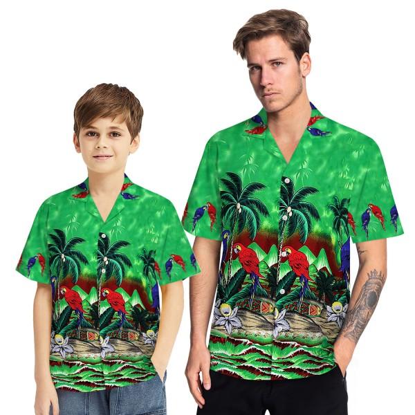 Tropical Hawaiian Aloha Shirt Parrot Palm Green Casual Button-Down Shirts For Men Boys