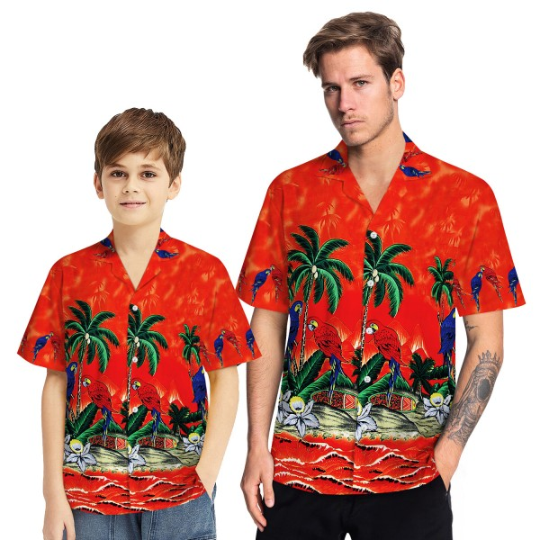Tropical Hawaiian Aloha Shirt Parrot Palm Red Casual Button-Down Shirts For Men Boys