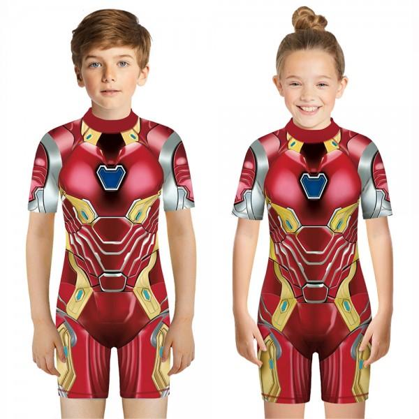 Kid's Iron Man One-Piece Swimsuit 3D Short Sleeve Swimwear For Boys & Girls