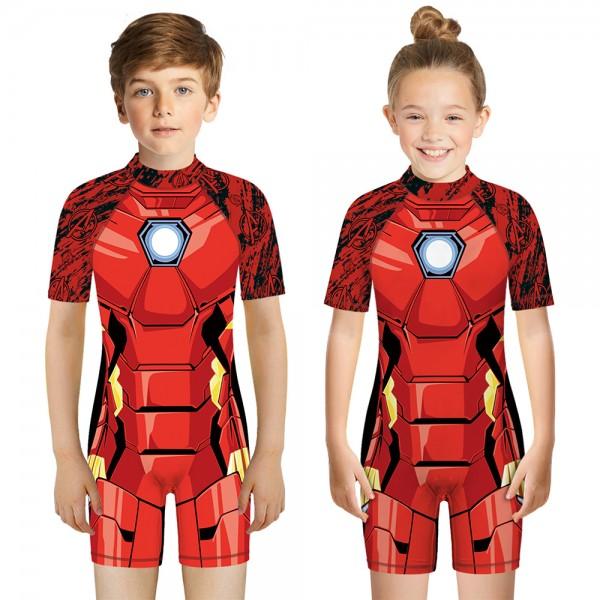 Kid's Iron Man One-Piece Swimsuit Short Sleeve 3D Swimwear For Boys & Girls