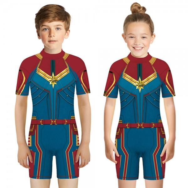 Kid's Captain America One-Piece Swimsuit 3D Short Sleeve Swimwear For Boys & Girls