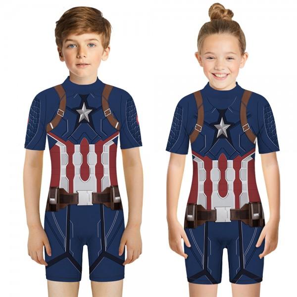Kid's Captain America One-Piece Swimsuit Short Sleeve 3D Swimwear For Boys & Girls