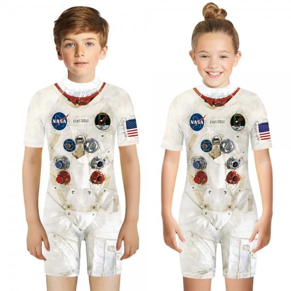 Kid's NASA One-Piece Swimsuit 3D Short Sleeve Swimwear For Boys & Girls