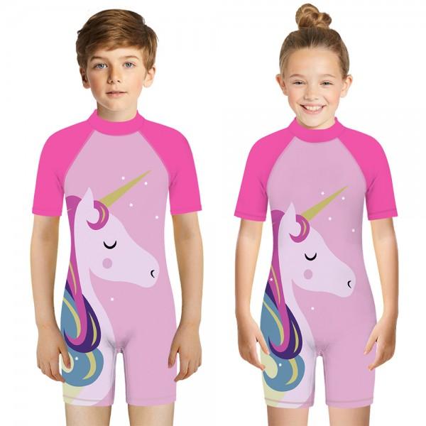 Kid's Unicorn One-Piece Swimsuit Pink 3D Short Sleeve Swimwear For Boys & Girls