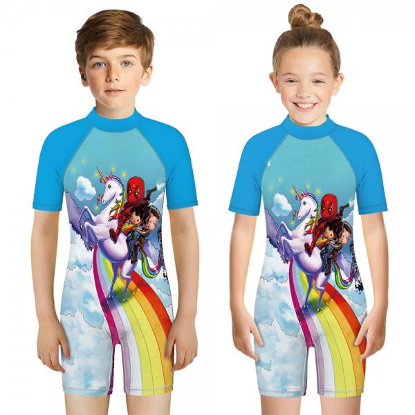 Kid's Unicorn One-Piece Swimsuit Blue 3D Short Sleeve Swimwear For Boys & Girls