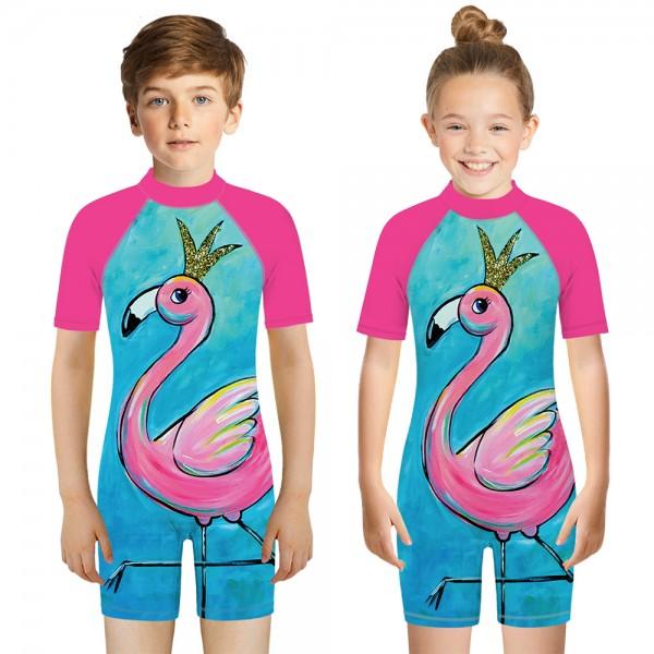 Kid's Flamingo One-Piece Swimsuit 3D Short Sleeve Swimwear For Boys & Girls