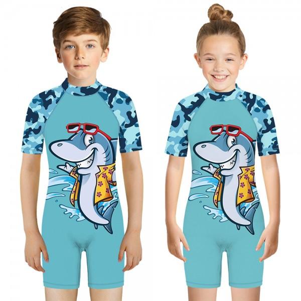 Kid's Shark One-Piece Swimsuit 3D Short Sleeve Swimwear For Boys & Girls