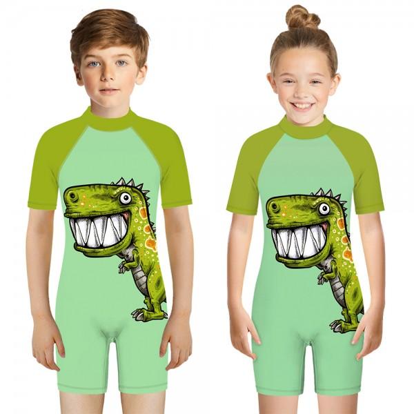 Kid's Dinosaur One-Piece Swimsuit 3D Short Sleeve Swimwear For Boys & Girls