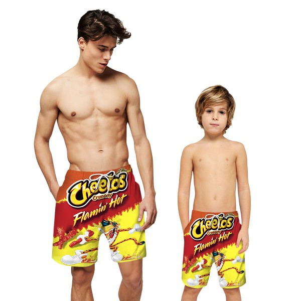 Cheetos Pattern Swim Trunks Shorts 3D Beach Shorts For Men Boys