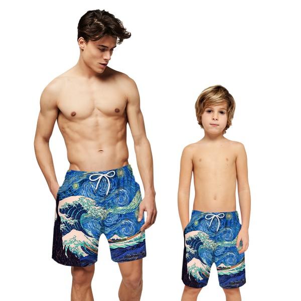 Sea Wave Painting Swim Trunks Shorts Blue 3D Beach Shorts For Men Boys