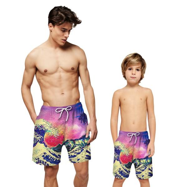 Sea Wave Swim Trunks Shorts Purple 3D Beach Shorts For Men Boys